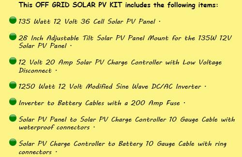 Off Grid Solar PV Kit